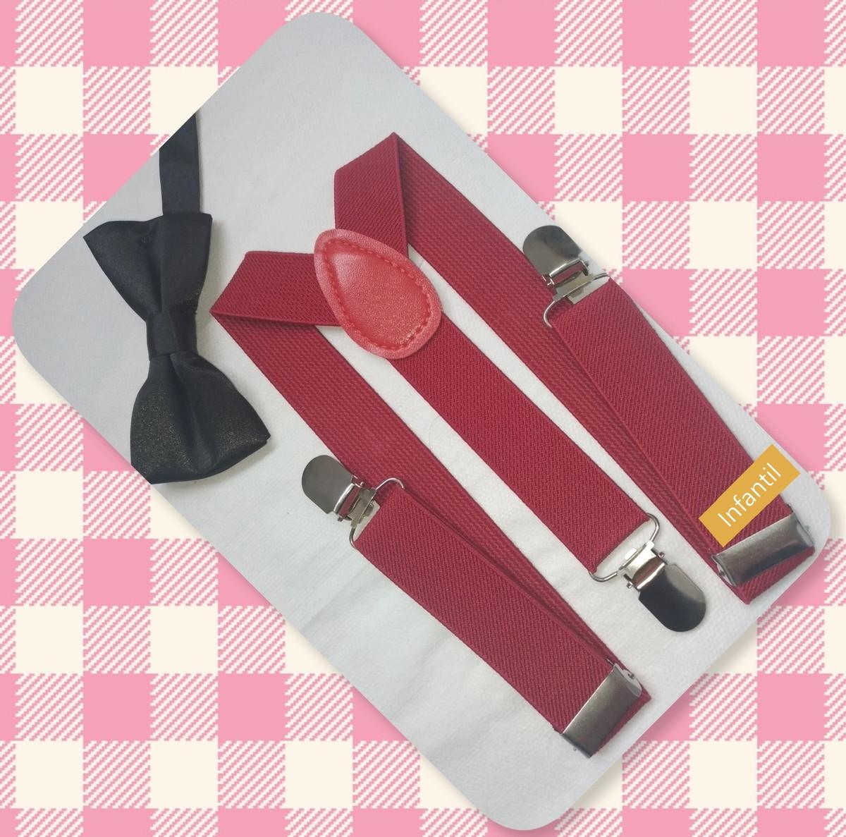 f46bf2021 Kit Suspensório Vinho + Gravata Preta - Infantil no Elo7