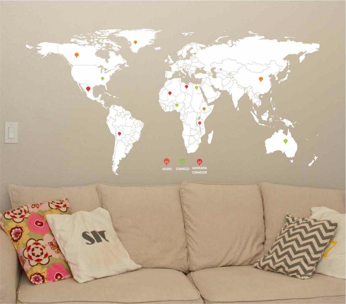 Adesivo Mapa Mundi Viagem Mochileiro Pins Marcacao No Elo7