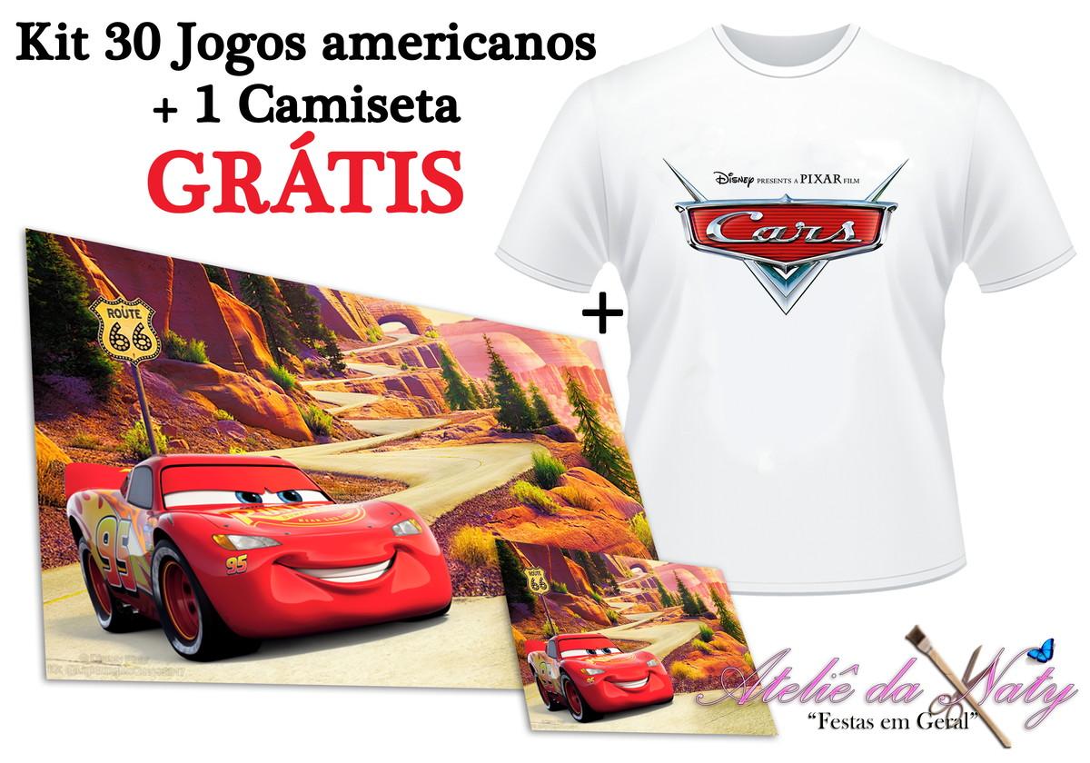 ada62b64b7 KIT 30 Jogos Americanos + Camiseta - Carros no Elo7