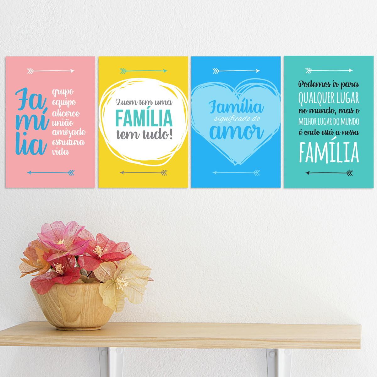 Placa Decorativa Mdf Frases De Família Kit 4un 20x30cm No Elo7