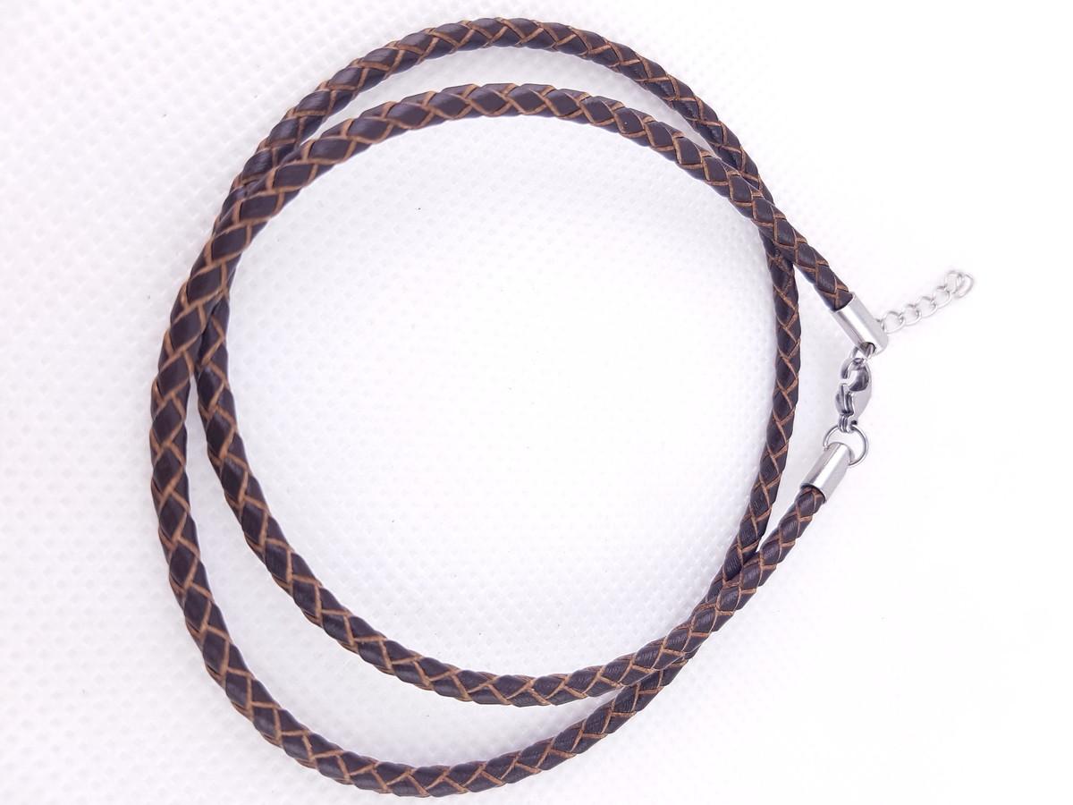 Colar de Couro legitimo trançado 3mm marrom fecho aço 45cm no Elo7 | Baú de Lata (CEC9D9)