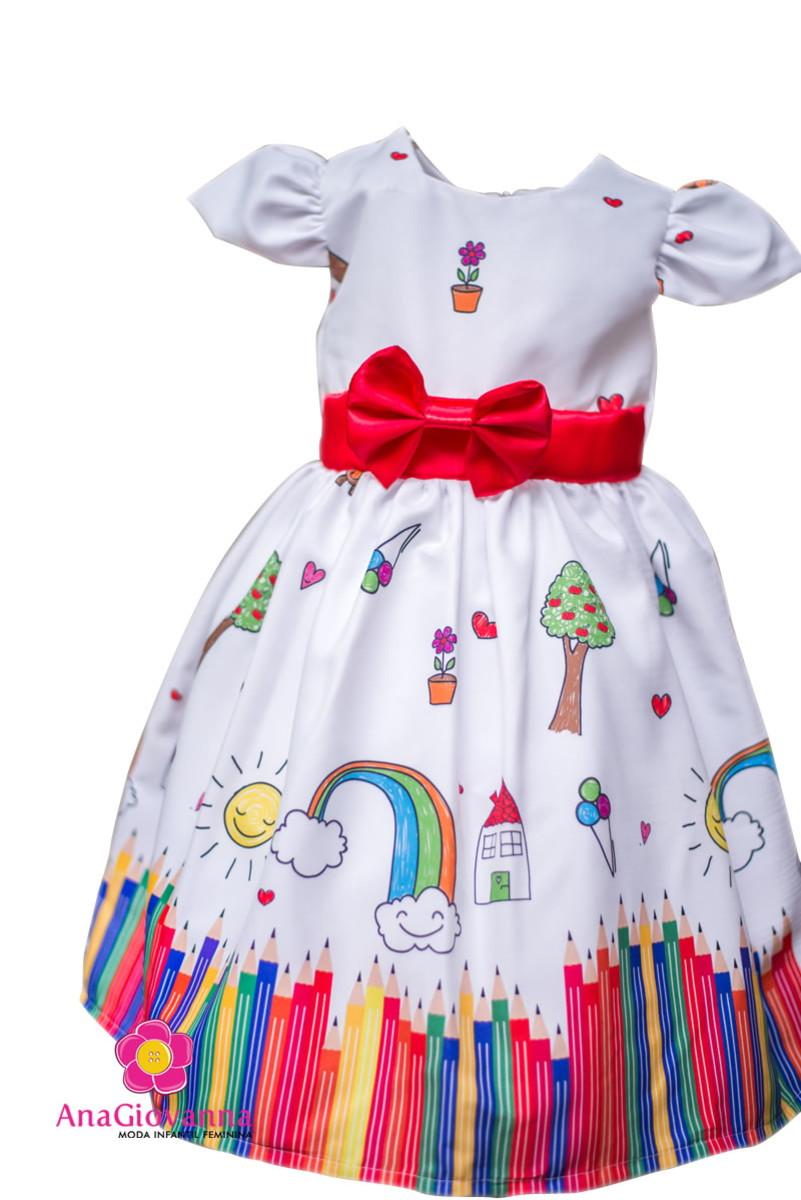 9a7e57838e Vestido Infantil de Festa Aquarela no Elo7