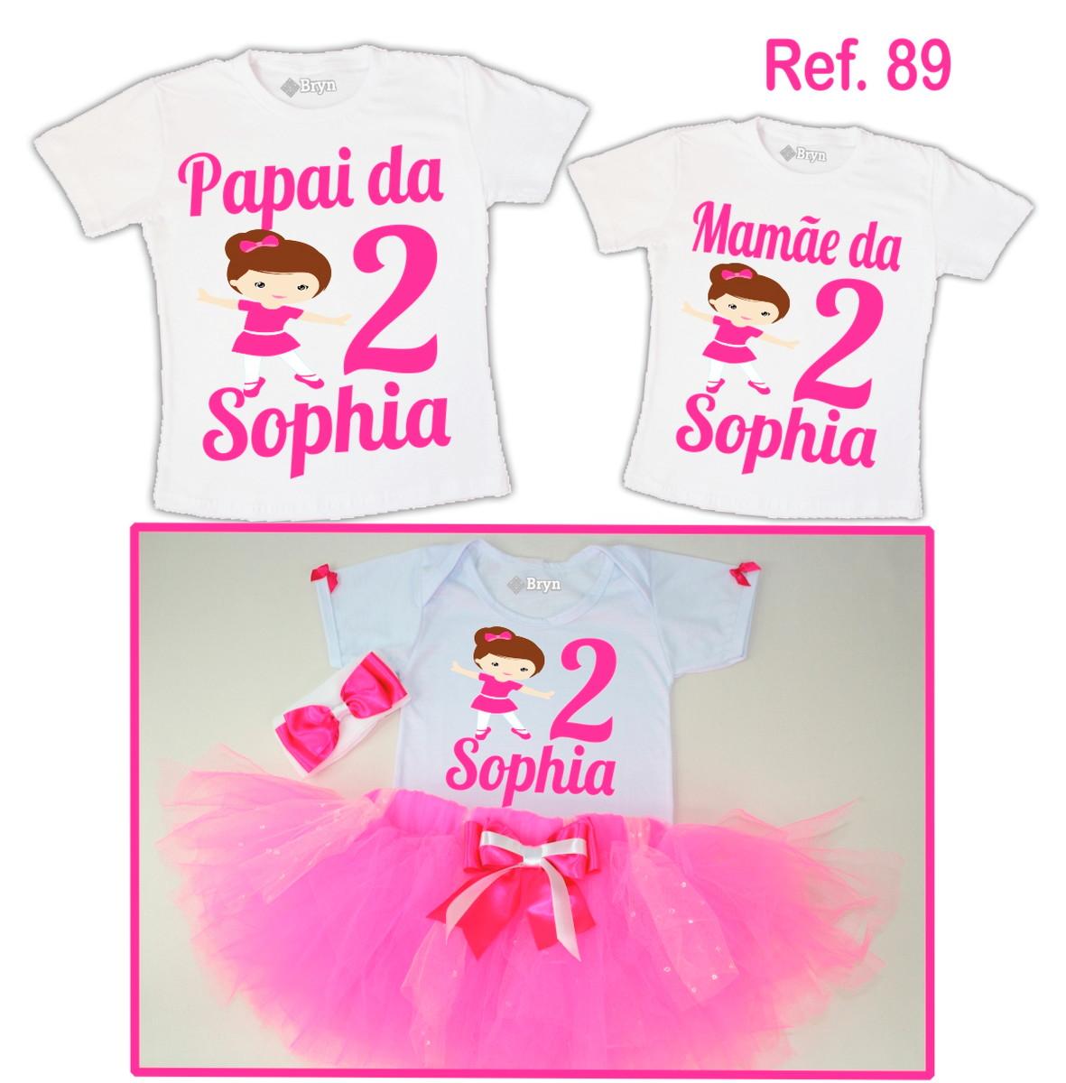 ce1664df94 Kit Fantasia Tutu Bailarina Rosa Pink + 2 Camisetas no Elo7