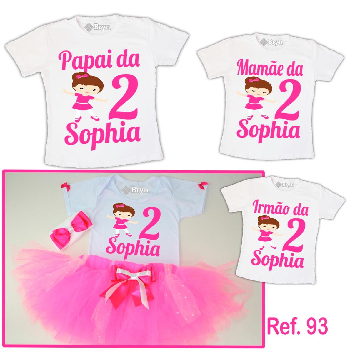 30d31aab20 Kit Fantasia Tutu Bailarina Rosa Pink + 3 Camisetas no Elo7