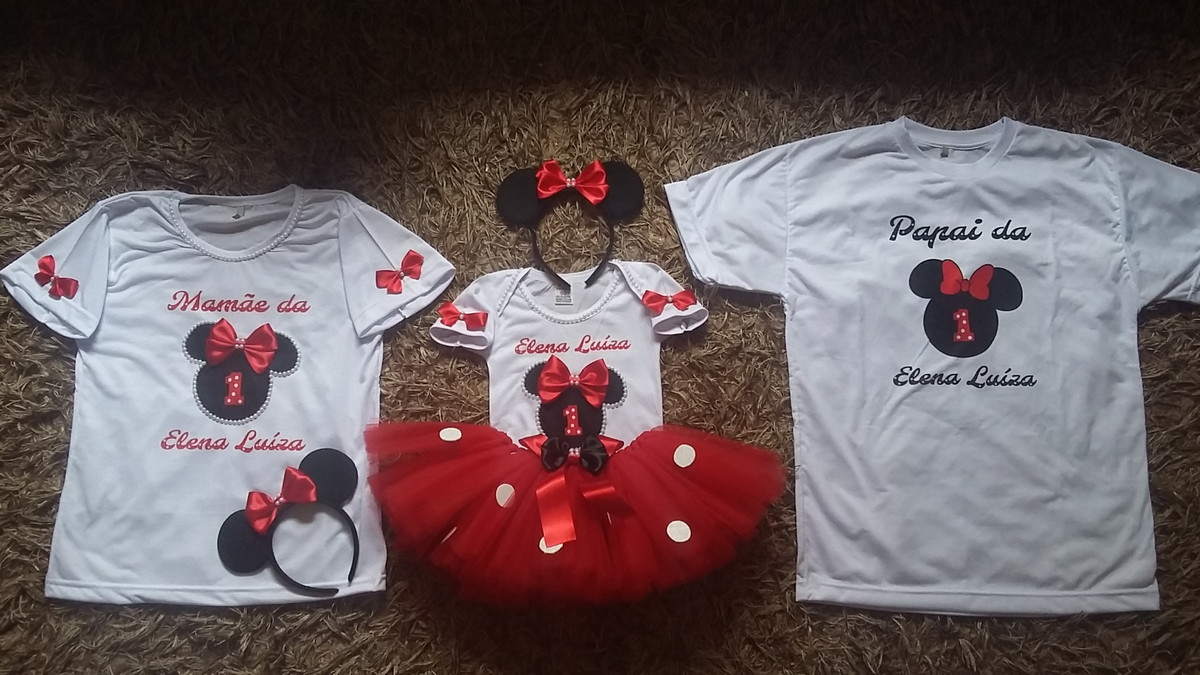 12fef079695ea1 Kit camisetas personalizadas Minnie Vermelha mãe pai filha