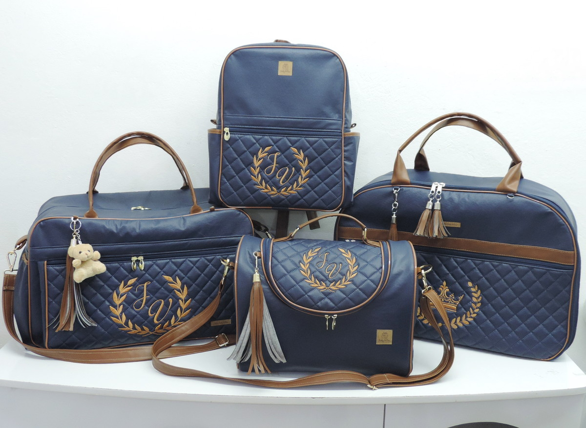 Kit Bolsas Maternidade Azul Marinho e Caramelo no Elo7  05196c8b4be