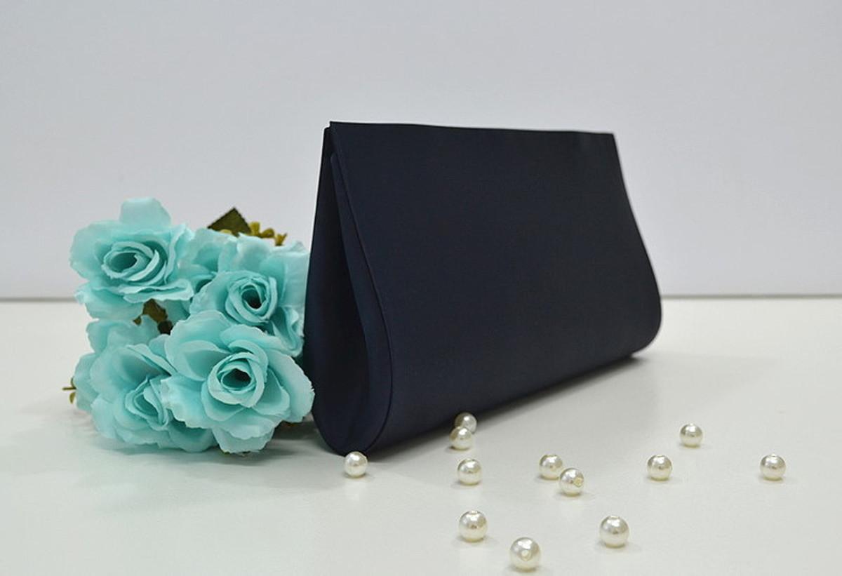 e69f624a64 Bolsa Carteira de Mão Clutch Azul Marinho P/ Festa no Elo7   Amel ...