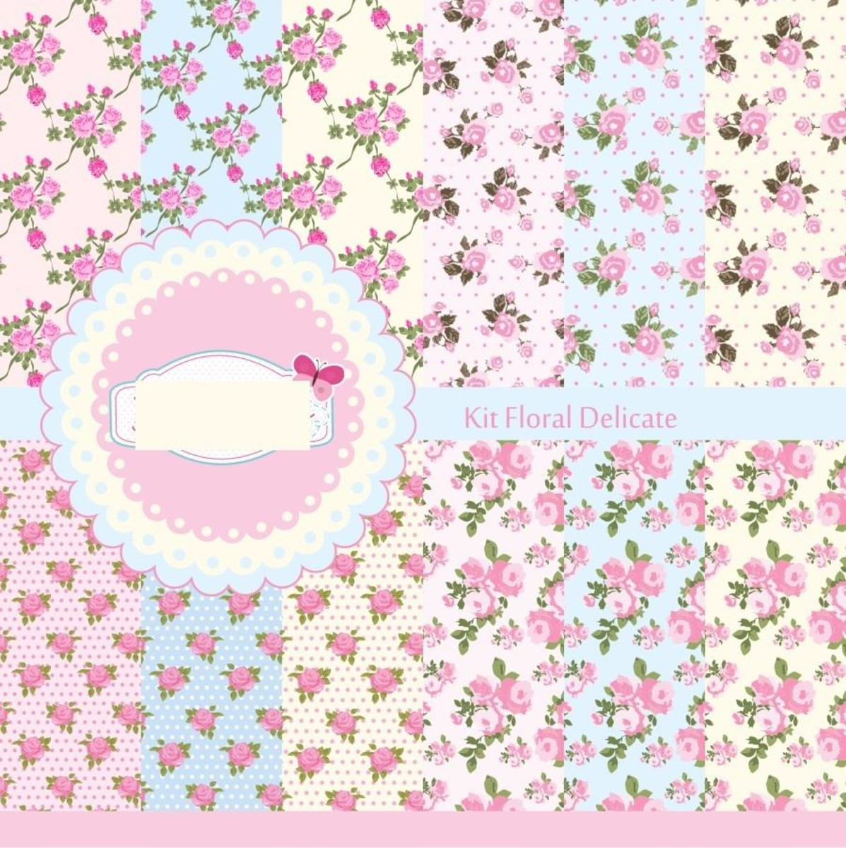 Papel Floral Delicado Elementos Digital Scrapbook Brinde No Elo7
