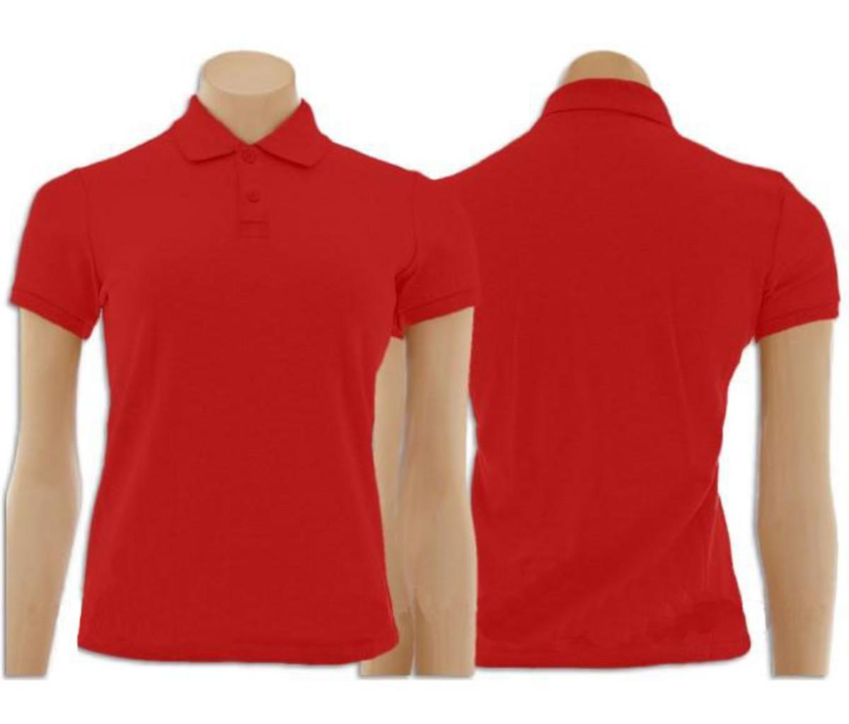 ac469a1c5 Camiseta Gola Polo Vermelho Feminino no Elo7