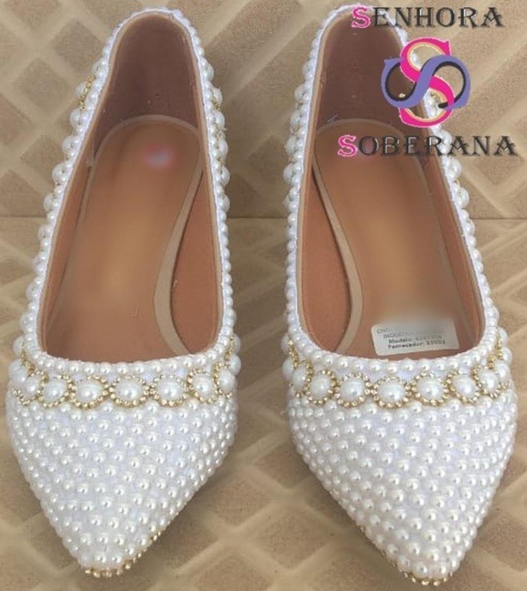 9f5fcafcd36 Sapato Scarpin Branco com strass dourado Soberana (Noivas) no Elo7 ...