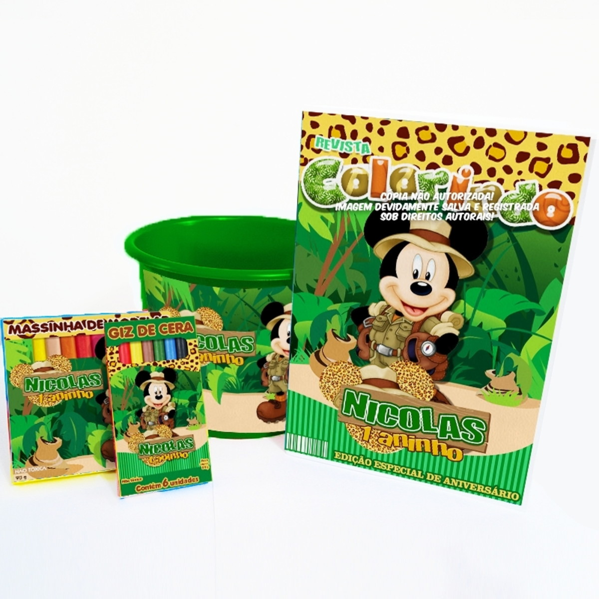 balde mickey safari kit colorir massinha personalizado no elo7