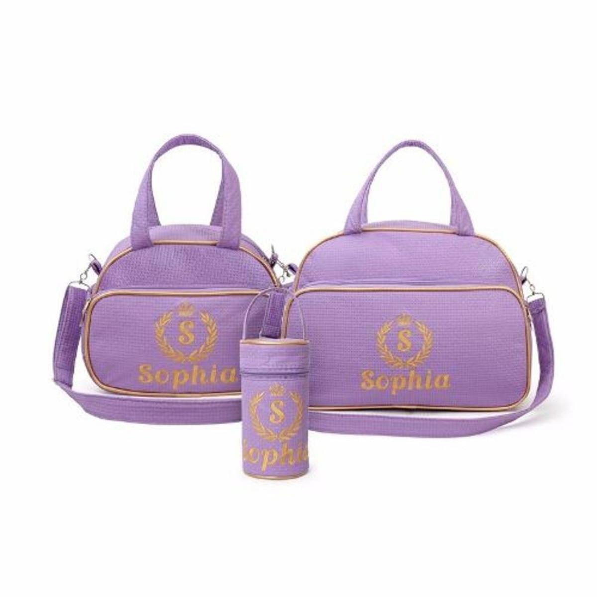 b38473fe3f Zoom · Bolsa Maternidade 170 Realeza Lilás Personalizada - 3 peças