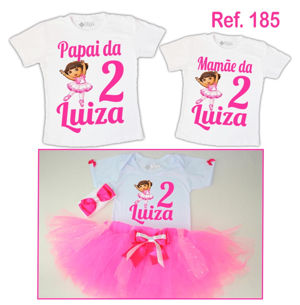 396d210e92 Kit Fantasia Tutu Dora Bailarina Rosa Pink + 2 Camisetas no Elo7 ...