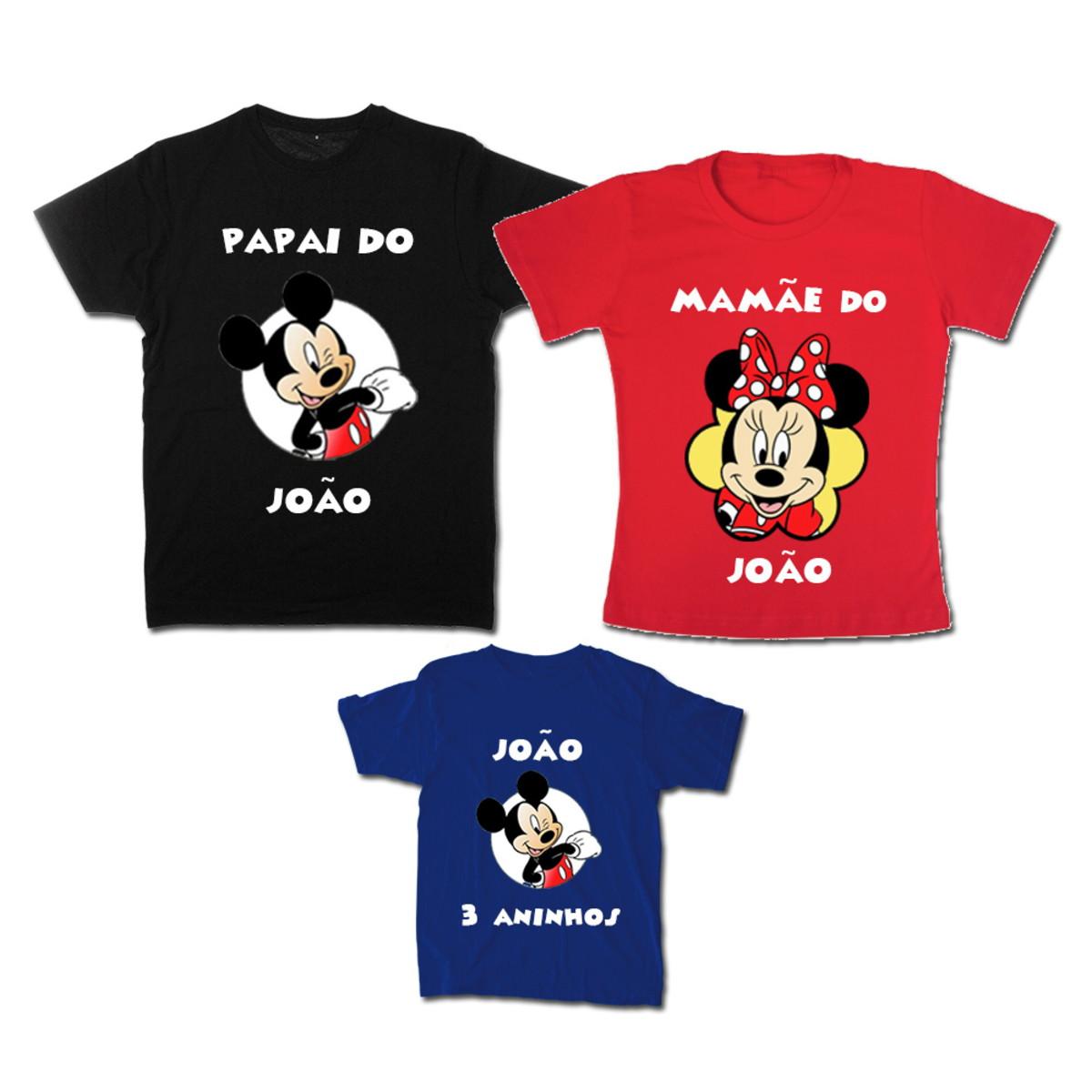 e7410babb87c Kit Família Mickey Color com 3 camisetas no Elo7   Espaço QK (D10B98)
