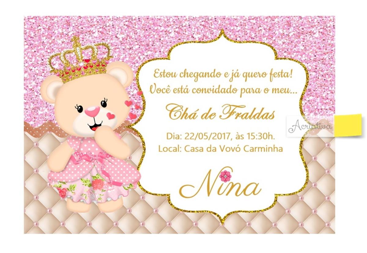Convite Chá De Bebê Ursa Princesa Lilas No Elo7 Acriativa