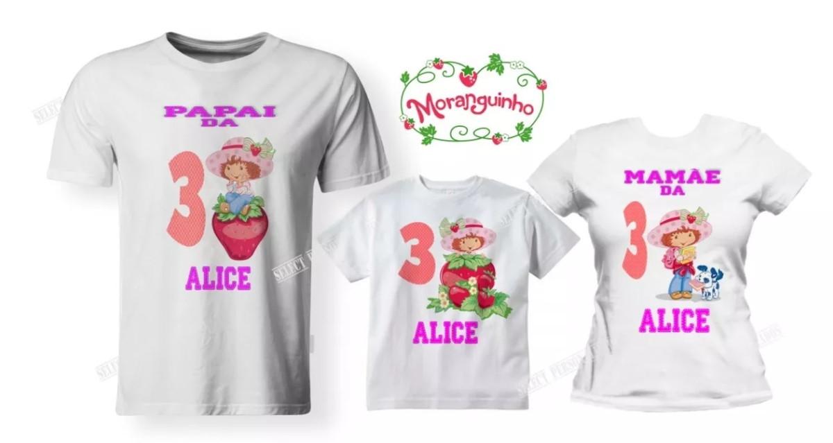 5e2424a58f Kit 03 Camisetas Aniversário Moranguinho Festa - A3 no Elo7