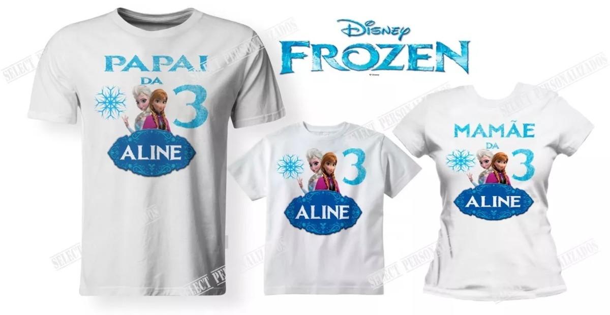 d53b82229d Kit 03 Camisetas Aniversário Frozen Festa - A3 no Elo7