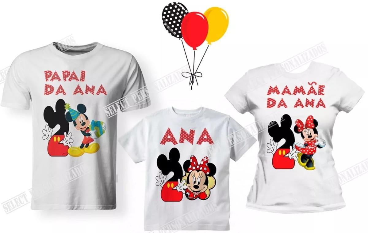 167c95b500 Kit 03 Camisetas Aniversário Mickey Minnie Disney Festa - A3 no Elo7 ...