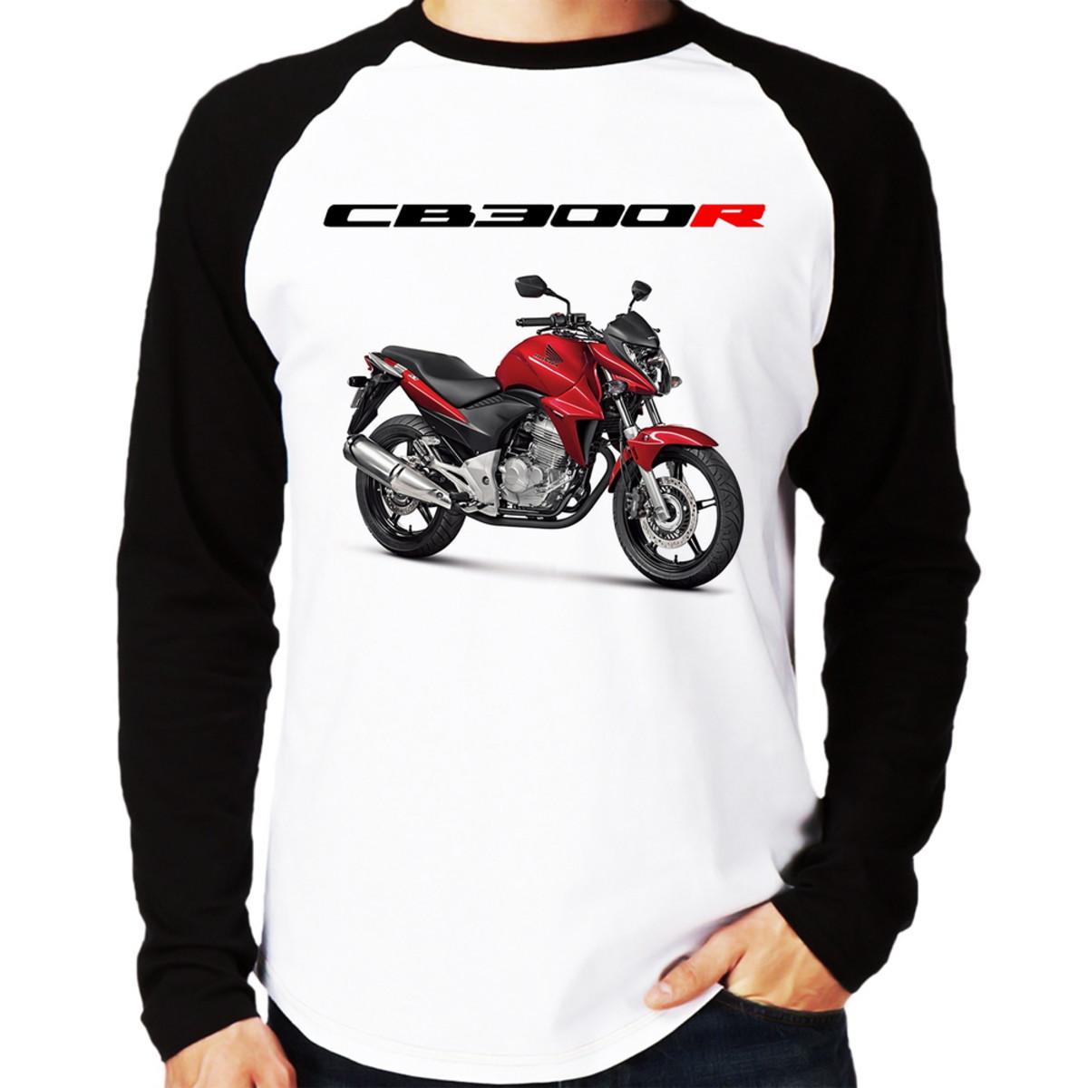 83c5f4ae8d8f2 Camiseta Moto Honda CB 300 R Vermelha Raglan Longa no Elo7