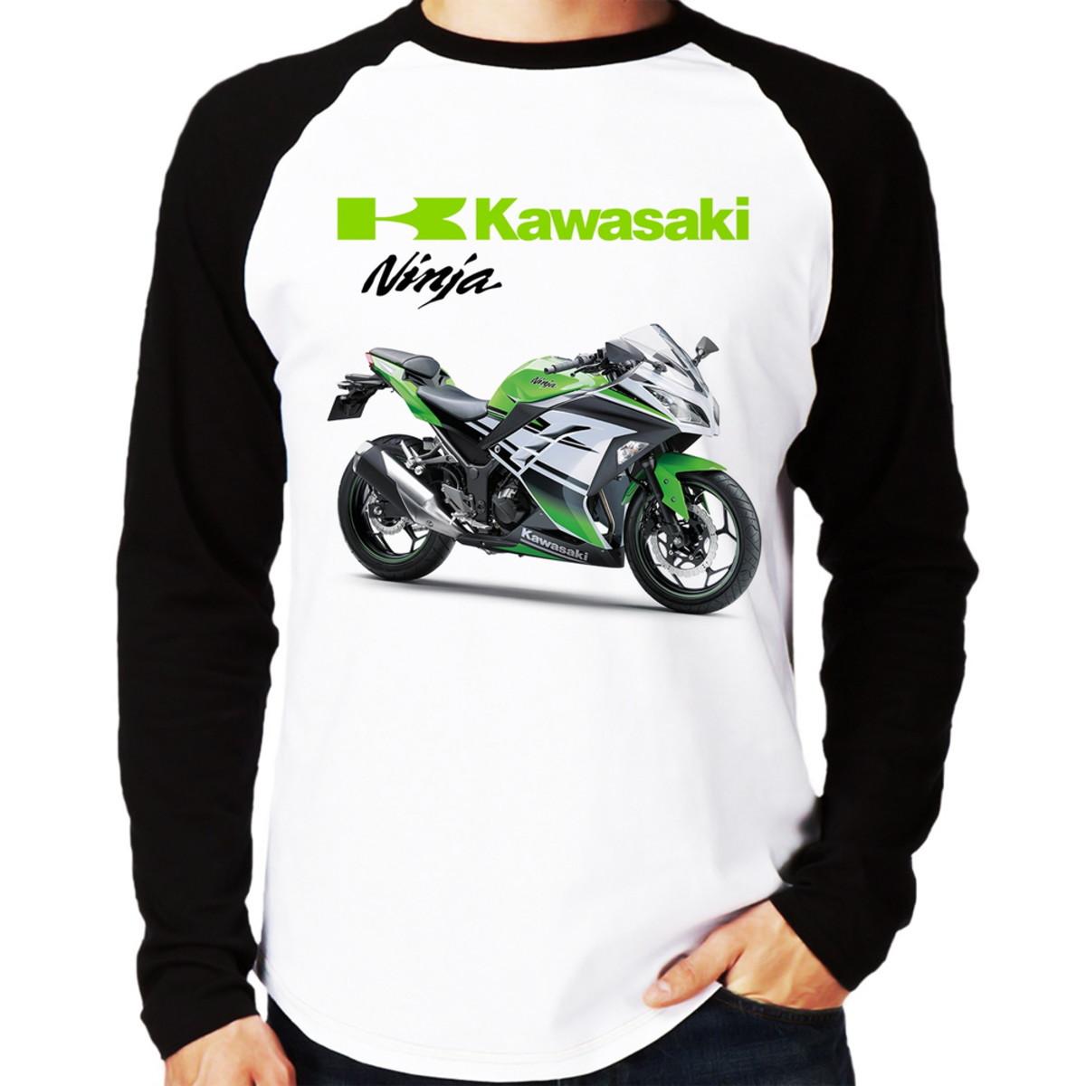 Camiseta Moto Kawasaki Ninja 300 Verde Raglan Longa No Elo7 Foca Na Moda D15085