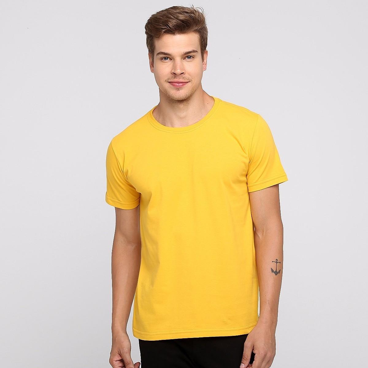 a7d8697c62 Camiseta 100% Algodão Sem Estampa Fio 30.1 Lisa Amarelo no Elo7 ...