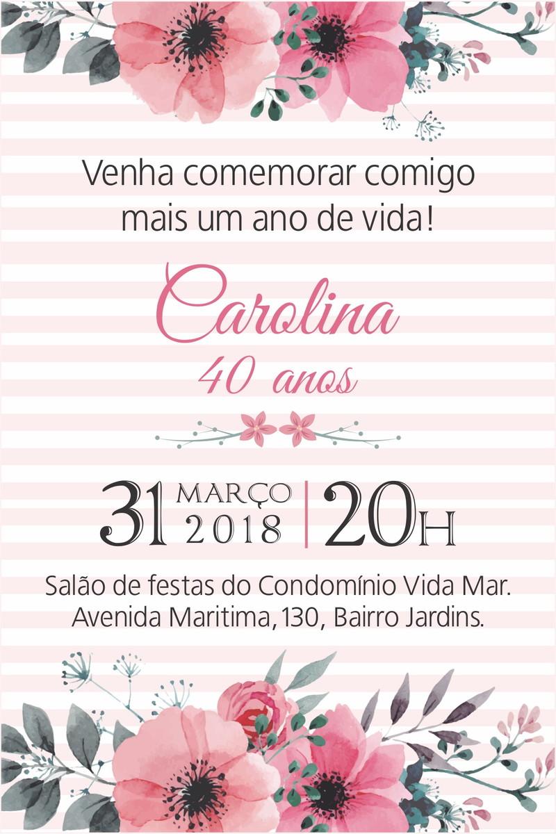 arte convite digital aniversario feminino no elo7