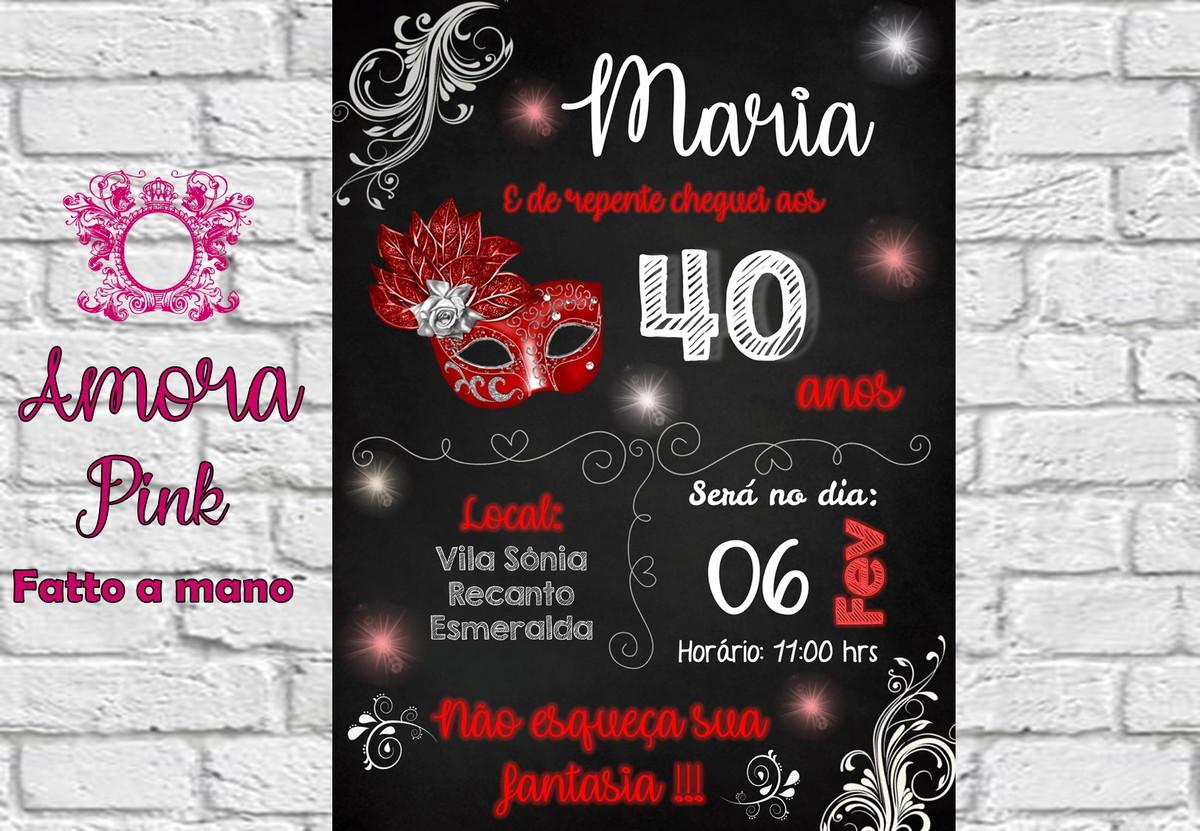 Convite Digital 30 40 Anos Vermelho Festa A Fantasia No Elo7