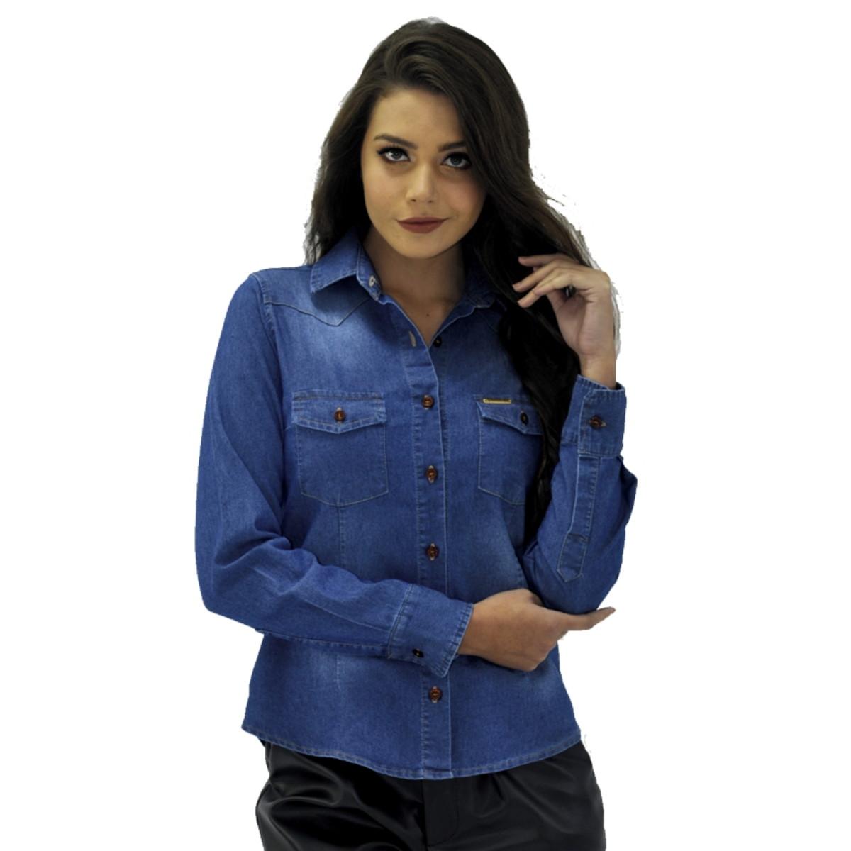 a6d2abb570 Camisa Feminina Jeans Manga Longa no Elo7