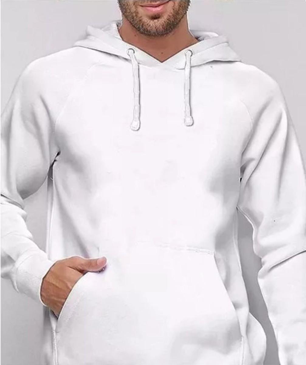 c5421774a Blusa Moletom Masculino Capuz Bolso Jaqueta Casaco Branco no Elo7 ...