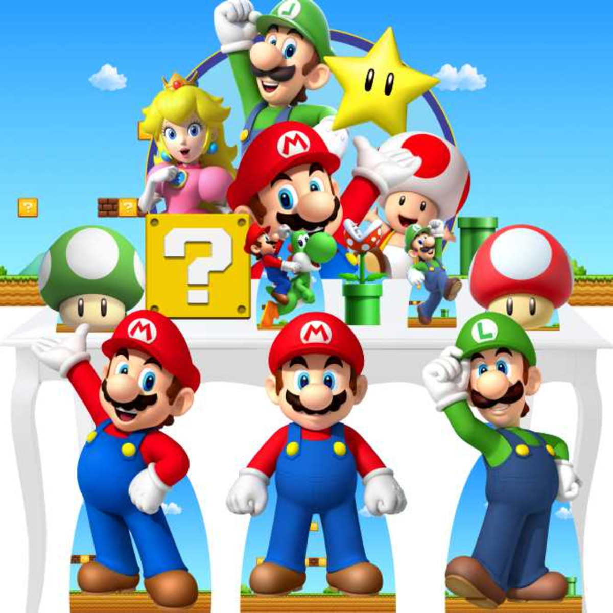 Combo Ouro Super Mario Bros Painel Totem Display Mdf 65cm