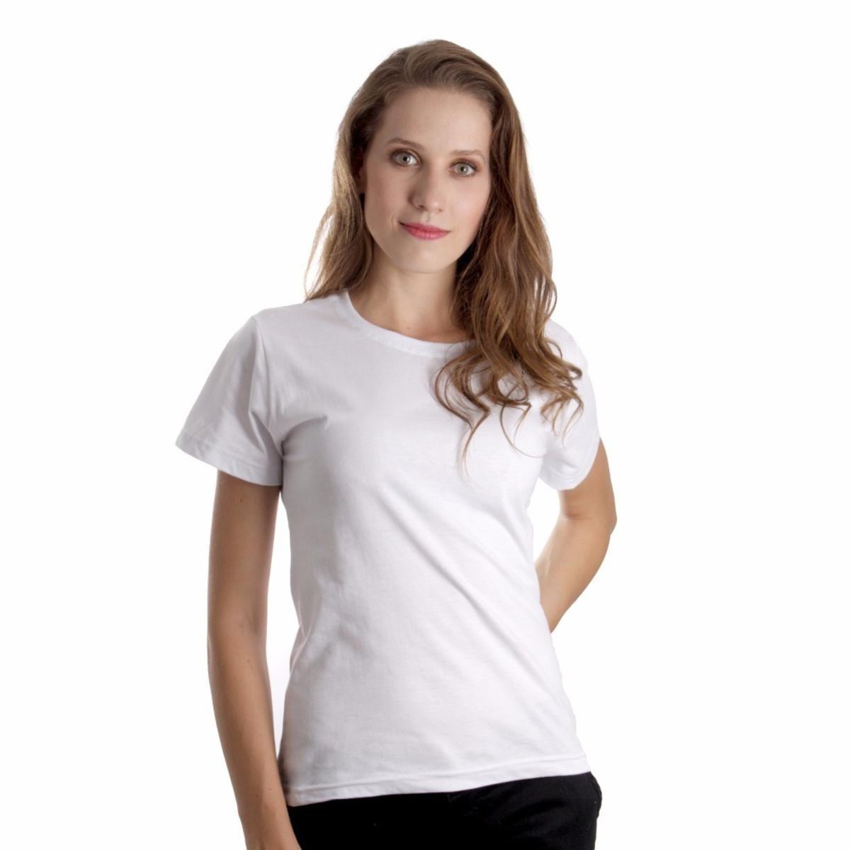 e71b35fc58268 Camiseta Baby Look Feminina 100% Algodão Lisa Camisa Branca no Elo7 ...