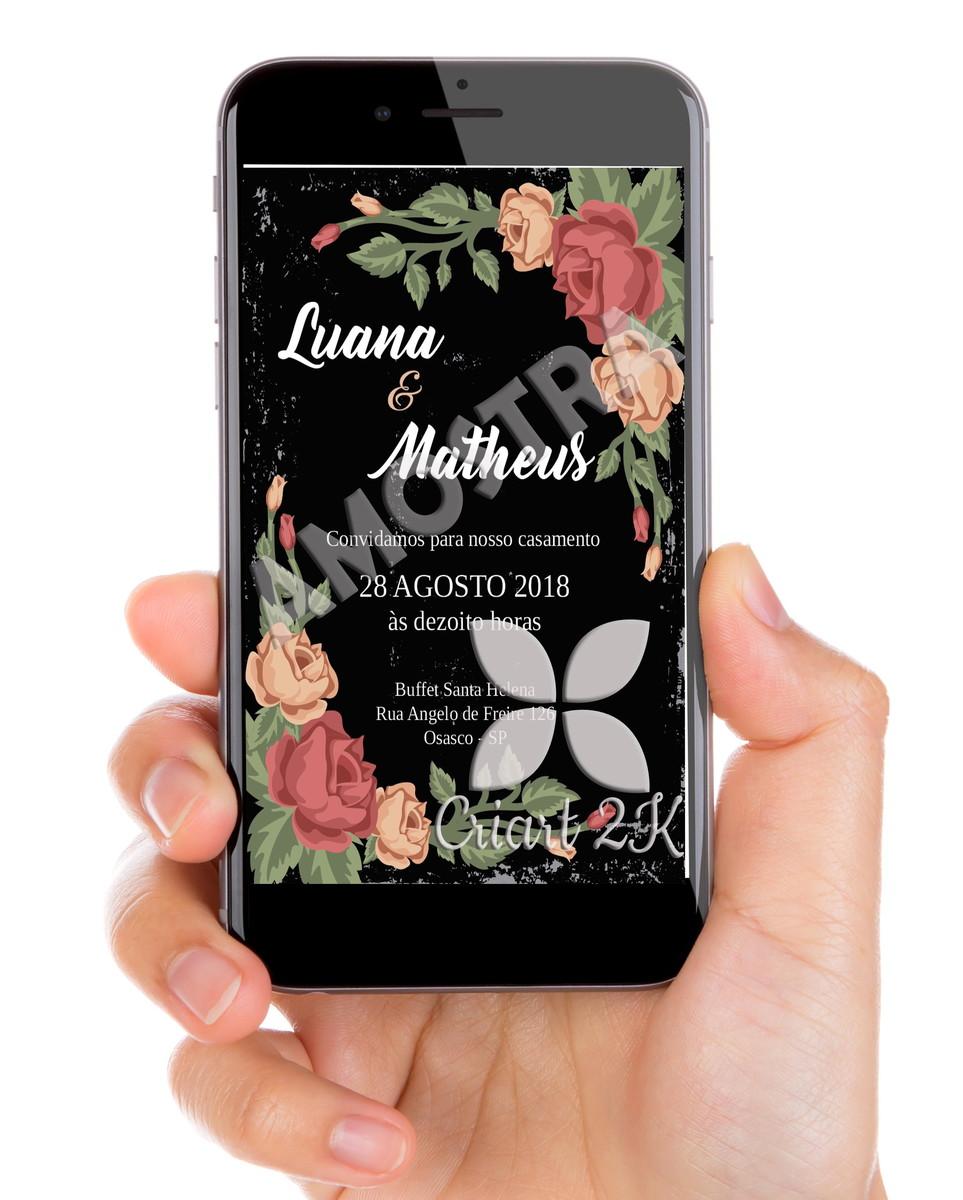 convite digital casamento whats app flores no elo7 zilda porto