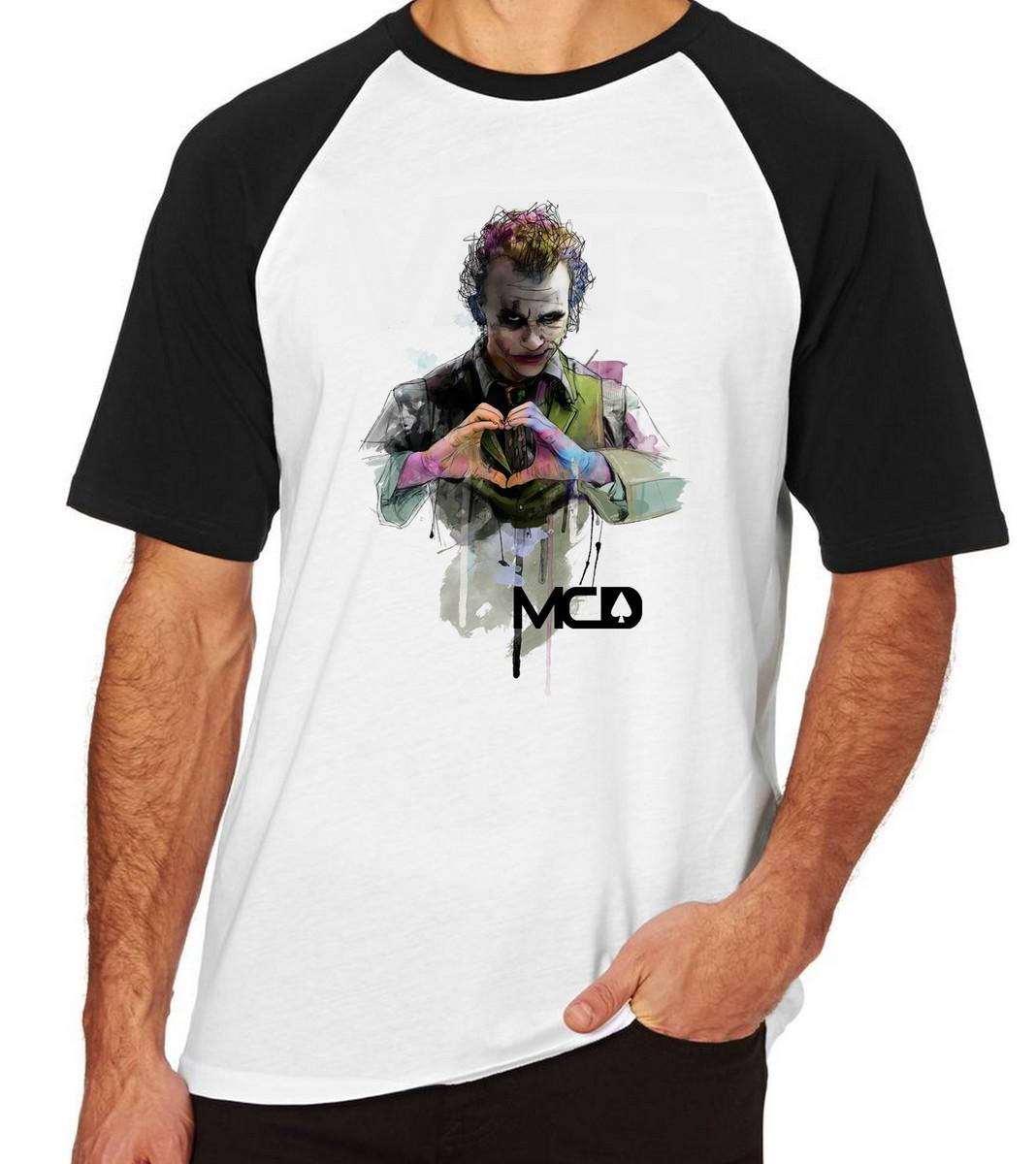 Camiseta Raglan Camisa Blusa MCD Coringa coração Palhaço no Elo7 ... 2ddde6b9bc5