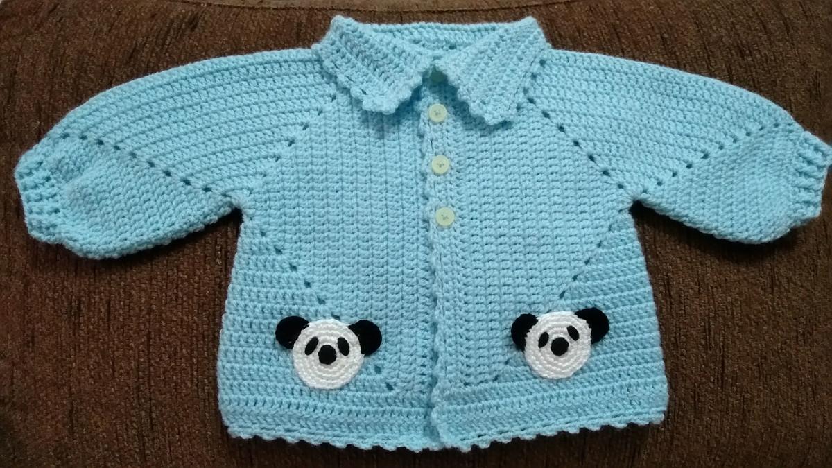 85aabe53f Casaquinho de lã para bebê modelo panda no Elo7   Berlinkesses (D1E783)