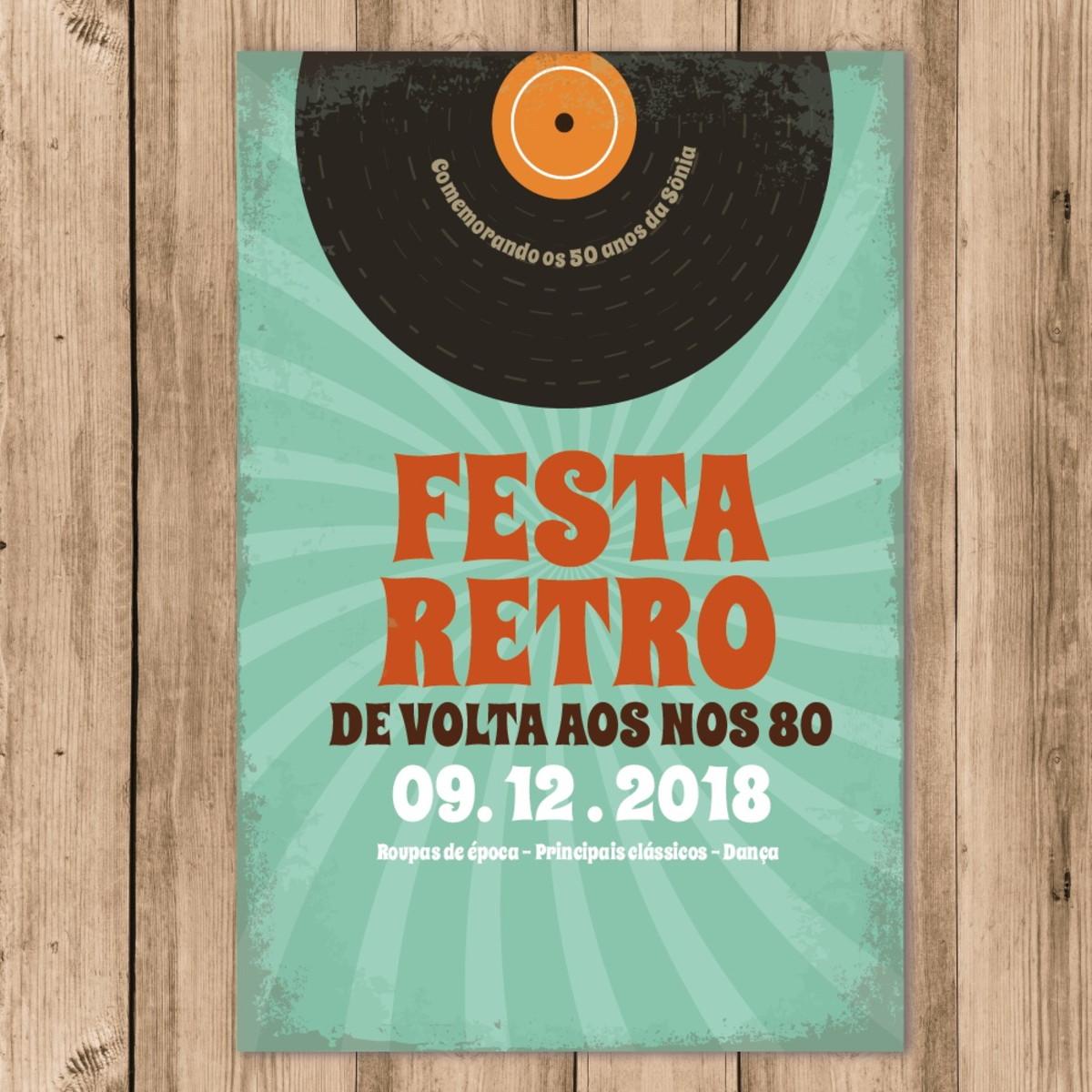 Convite Festa Retro Anos 60 70 80 Disco Vinil Whatsapp No Elo7