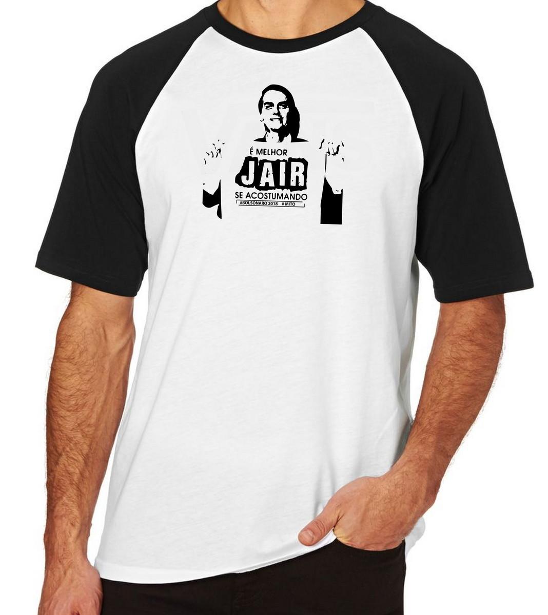 7ad0824f3b Camiseta Raglan Camisa Blusa Bolsonaro Jair se acostumando no Elo7 ...