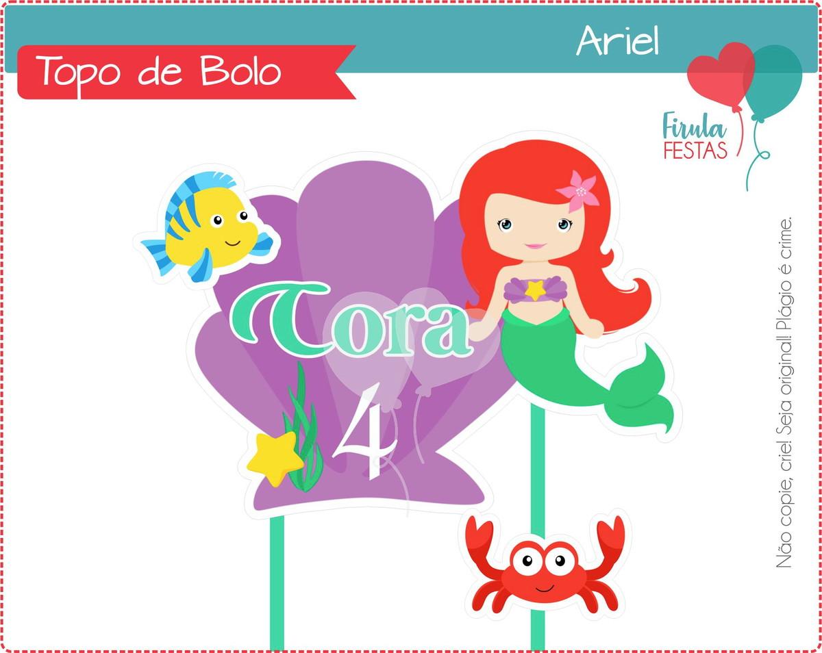 Topo De Bolo Digital Ariel Pequena Sereia No Elo7 Firula Festas