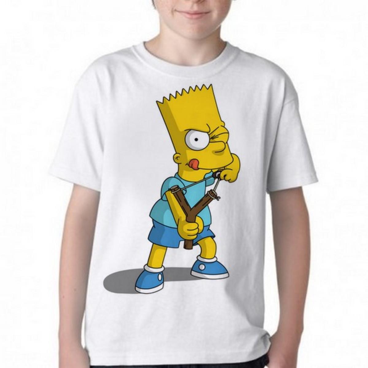ac868a888 Camiseta Infantil Blusa Criança Simpsons Bart Estilingue no Elo7 ...