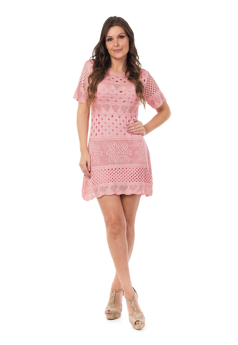 Vestido Curto Feminino Tricot Manga Curta Rosa Claro 04949