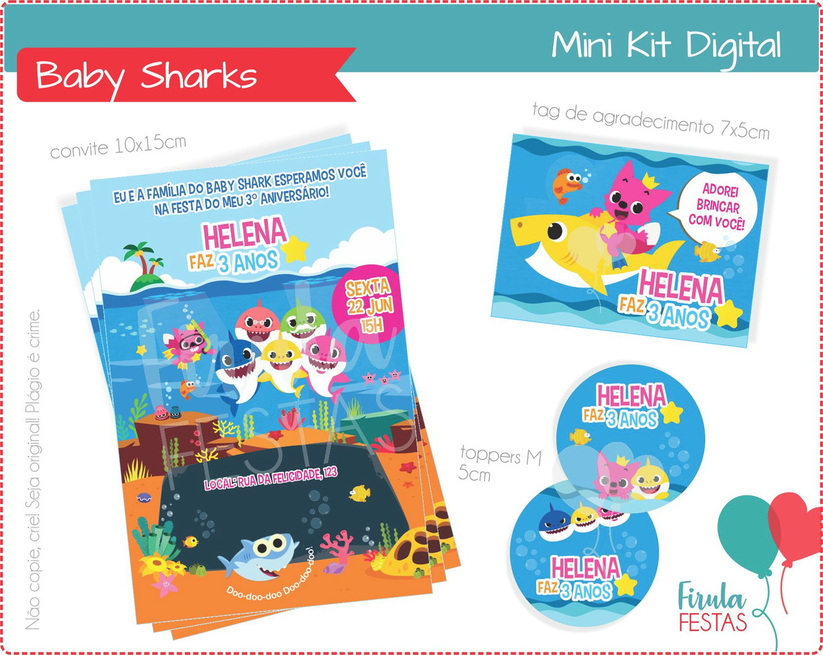 Mini Kit Digital Baby Sharks No Elo7 Firula Festas D26710
