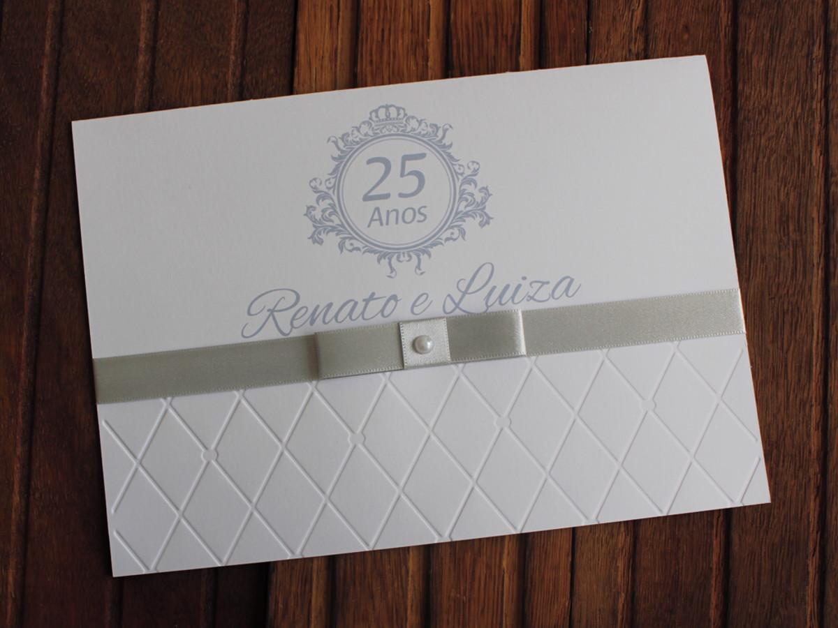 Convite Bodas Prata - Casamento 15 anos - Textura relevo no Elo7 ... 82a68ae99c