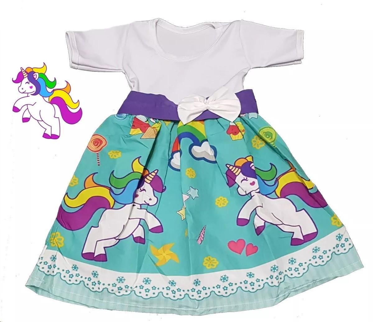 Vestido Infantil Tema Unicórnio Criança Aniversário 2 Anos No Elo7