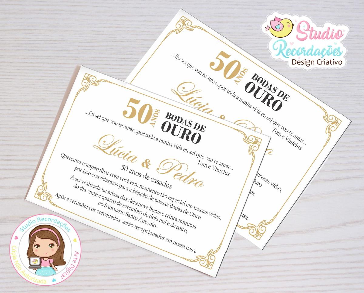Convite Digital Bodas De Ouro Suriname No Elo7 Studio