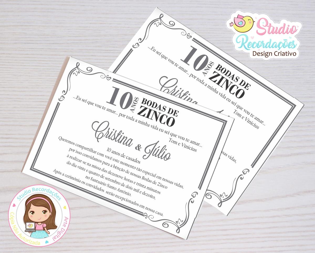 Convite Digital Bodas De Zinco Bolívia No Elo7 Studio
