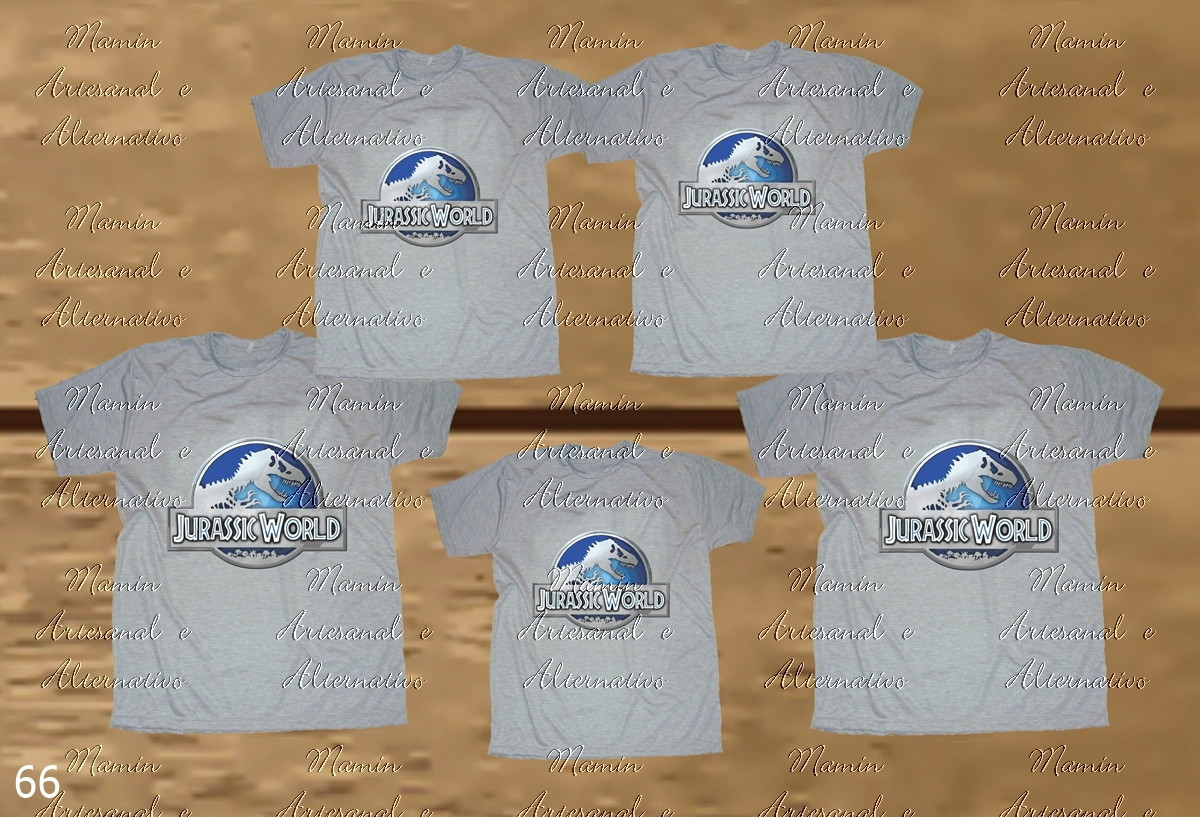 84505b7846 Kit 5 Camisetas Divertidas dinossauros Jurassic Cinza mescla no Elo7 ...