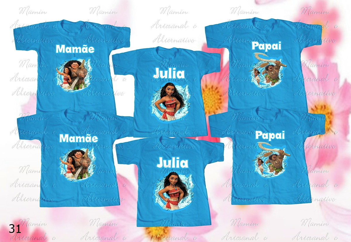 5284d735e8 Kit 6 camisetas Divertidas Moana no Elo7