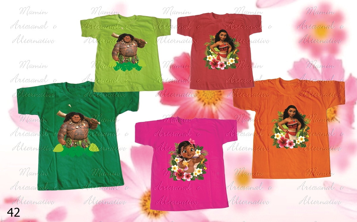 d176139fcb Kit 5 camisetas Divertidas Moana no Elo7