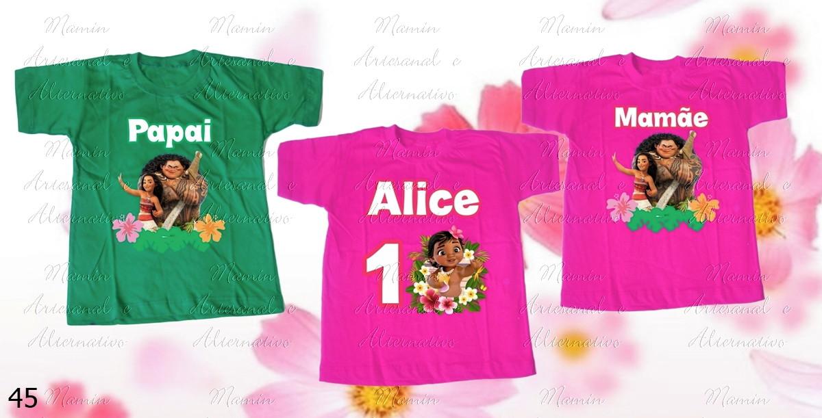 13ce0e92f3 Kit 3 camisetas Divertidas Moana no Elo7