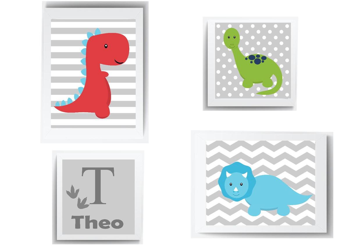 82d150837f0515 Quadro Infantil Bebe Menino Dinossauro