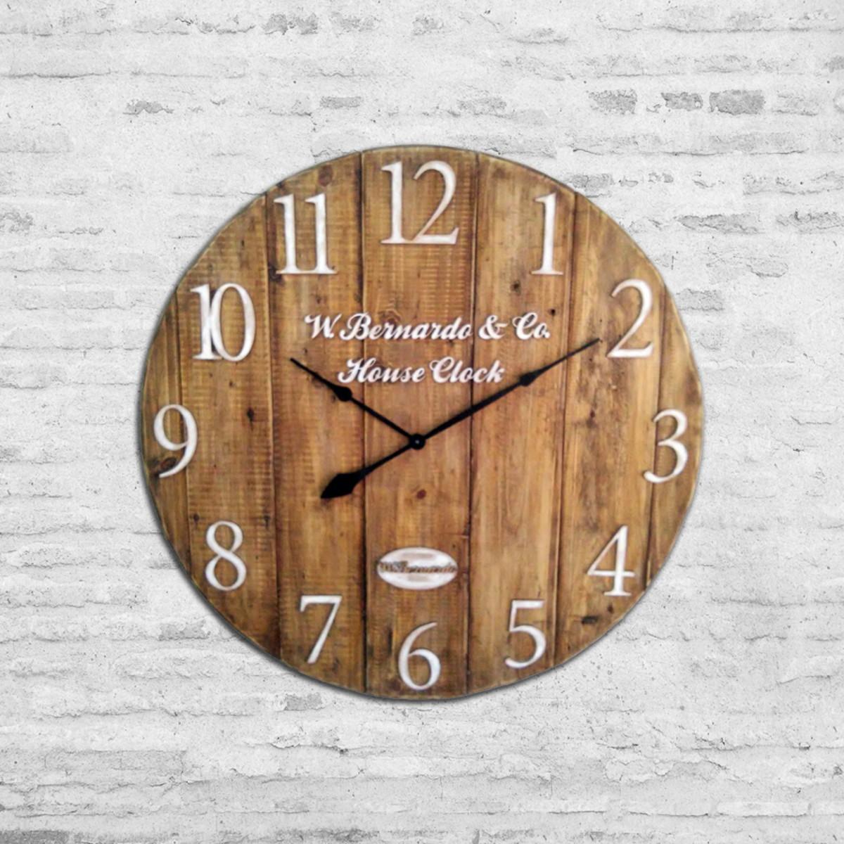 6a19bb9fc9d Relógio de Parede em Madeira Artesanal Grande 75cm no Elo7